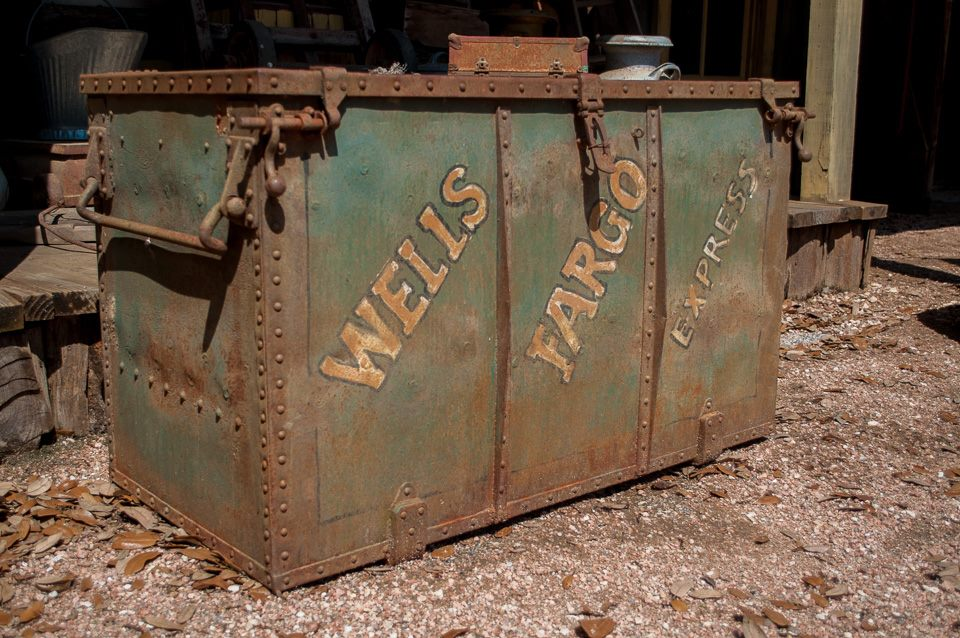 An old Wells Fargo money box.