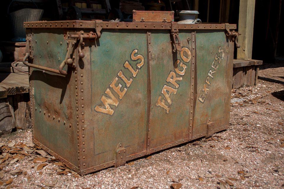 An old Wells Fargo money box.