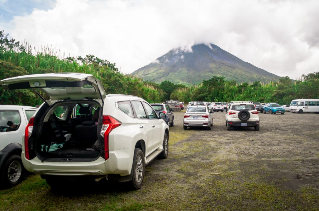 Our SUV in the parking area at the base of Volcano Arenal.