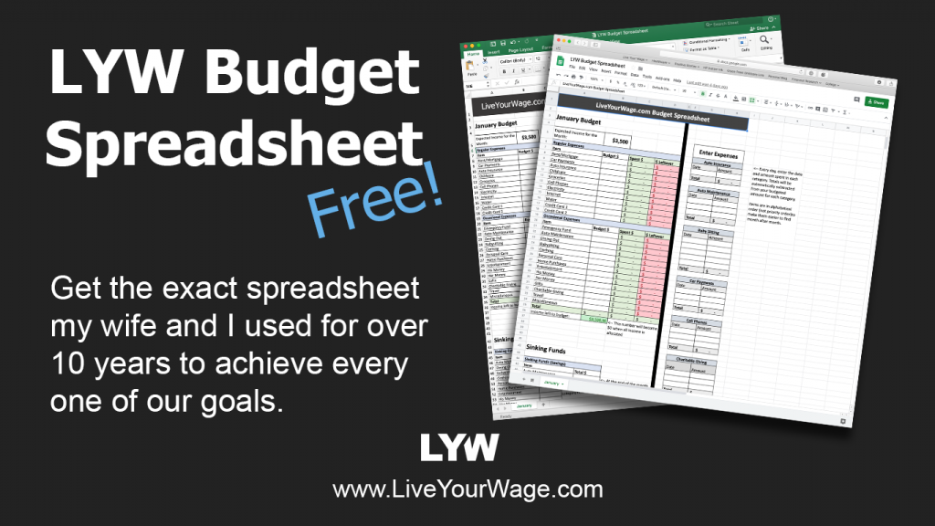 Live Your Wage Budget Spreadsheet Promo Image