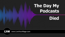 Audio waveform from a podcast fading to zero.